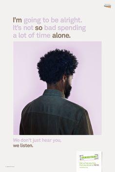 Samaritans 'We Listen' — created by MullenLowe London, photography Nadav Kander