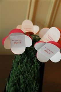 Place cards on display Faux Grass, Place Cards, Wedding Ideas, Display, Floor Space, Billboard