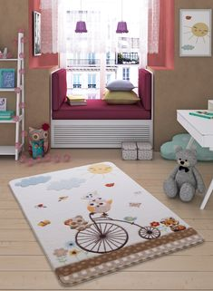 Antdecor This rug provides a soft and warm touch with comfort to the feet. Prevents sliding and crashes and is spine and joint-friendly. Energy-saving by heat insulation. Rug Size: Rectangle 99 x White Rug, White Area Rug, Beige Area Rugs, Light Blue Area Rug, Navy Blue Area Rug, Kids Area Rugs, Carpets For Kids, Childrens Rugs, Synthetic Rugs