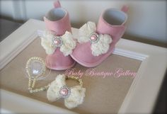 OBSESSED!! Matching Beaded 4-in-1 Pacifier Holder and Boot Collection - Pink Pearl. $39.99, via Etsy.