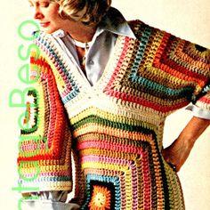 Granny Square CROCHET PATTERN Instant Download Pdf Hippie Boho Granny Square Triangle Pullover Top 1970s Vintage Beso