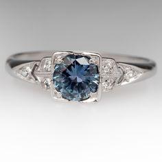 .71+Carat+Montana+Sapphire+&+Diamond+Vintage+Platinum+Ring