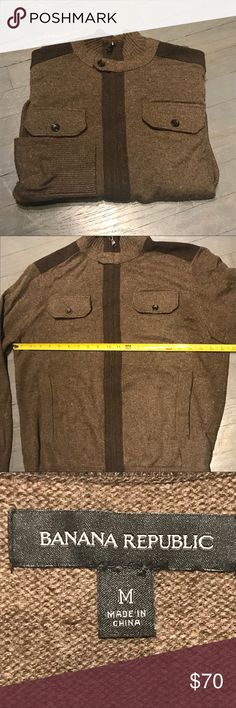 Banana Republic Wool Zip Stand Up Collar Sweater Banana Republic Brown Wool Blend Full Zip Stand Up Collar Sweater with Two Pockets. Excellent condition no stains rips tears holes Banana Republic Sweaters Zip Up