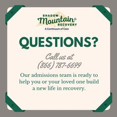 We are here to support you.  Please call us at (866) 787-6699 if you have any questions.  ○○○ #Addiction #Recovery #AddictionRecovery #ShadowMountainRecovery #rehabilitation #detoxification #detox #rehab #Cascade #ColoradoSprings #Denver #Colorado #Albuquerque #Taos #NewMexico #StGeorge #Utah #RecoveryIsPossible #RecoveryIsWorthIt #WeDoRecover #12Steps #12Step #Sober #Sobriety