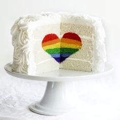 Rainbow Heart Cake For more great ideas go to www.destinationwe… Rainbow Heart Cake For more great ideas, visit www. Rainbow Food, Rainbow Heart, Rainbow Cakes, Rainbow Cake Decorations, Rainbow Wedding Cakes, Rainbow Things, Rainbow Stuff, Rainbow Pride, Beautiful Cakes
