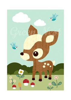 Cute Vintage wooden Deery, Bluebird, Mushrooms, Flowers Collage Poster Print