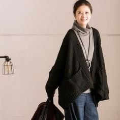 Plus Size Beautiful Cozy Thick Intricate Knitted Sweater Cardigan