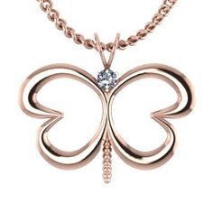 A beautiful butterfly with hearts as its' wings. A perfect gift for a loved one, a new mom or an expecting mom. There is a 2mm round gemstone (0.03 carats) in the center. The height of the pendant is 16mm and the width is 15mm. An 18 inch matching cable chain is included.  As shown in 14K Rose Gold with  Diamond.
