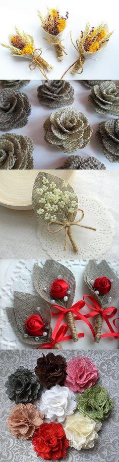 Идеи изделий из мешковины./ Flores de tela/ Maria L.bertolino/ www.pinterest.com...