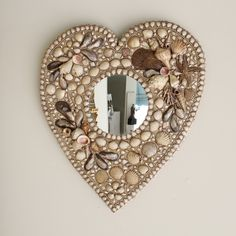 A Shell Encrusted Heart Shaped Mirror Beach Crafts, Diy Crafts, Heart Mirror, Shell Collection, Seashell Art, Heart Art, Sea Shells, Heart Shapes, Arts And Crafts