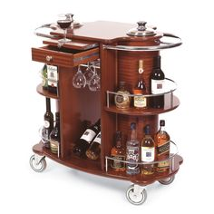 crazy expensive bar cart Geneva 70260 Beverage Service Cart with 2 Shelves and Bordeaux Veneer Finish - 39 x 19 x 40 Liquor Cart, Wine Cart, Wine And Liquor, Diy Bar Cart, Gold Bar Cart, Bordeaux, Bar Trolley, Bar Carts, Food Trolley