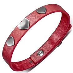 Dámský červený náramek zdobený srdíčky. Náramek je vyrobený z kvalitní umělé kůže Fashion, Moda, Fashion Styles, Fasion