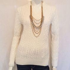 """Jeanne Pierre V-Neck Sweater. Jeanne Pierre White V-Neck White Sweater 100% Cotton. Armpit to armpit 17"""", Sweater Length 25"""", Sleeve Length 24.5"""", V-Neckline 9"""". Jeanne Perrie Sweaters V-Necks"""