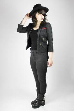 Vintage Black Blazer Short Jacket Hearts S Red Chic Evening | Etsy
