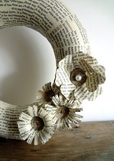 Wreath recycled books neutral colours paper flowers by bookity