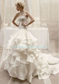 Organza Strapless Straight Neckline Beaded Lace Appliqued Bodice A-line Ruffled Skirt with Chapel Train