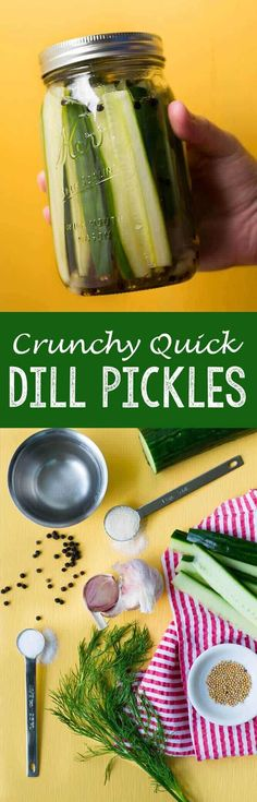 Easy Homemade Pickling Recipe: Crunchy quick dill pickles, the best refrigerator pickles you will ever eat! Canning Pickles, Homemade Pickles, Fermented Foods, Canning Recipes, Fruits And Veggies, Vegetables, Food To Make, The Best, Food And Drink