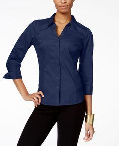 f124b137 NY Collection Mixed-Media Shirt & Reviews - Tops - Women - Macy's