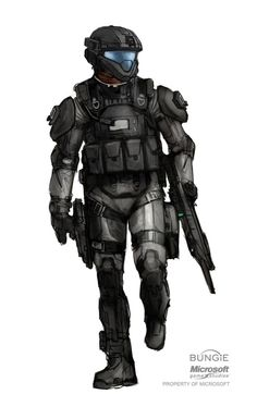 ODST - concept art. If they made the helmet taller, and made the visor vertically bigger it would look better/more Halo.