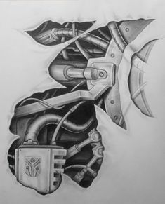 mech tattoo design pt.2 by karlinoboy: