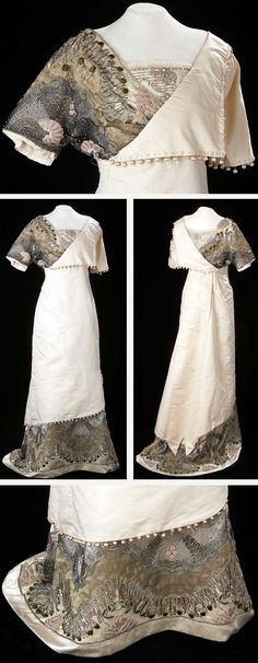 Evening gown, ca. 1914. Inspired by French couturiers such as Paul Poiret, this elegant silk faille taffeta gown is embellished with beading, embroidery, and contrasting fabrics. The inner woven waistband has the names of two merchants: Donaldson's of Minneapolis and Glanville's of Calgary. Both were sources of high-end garments such as this one. Glenbow Museum.