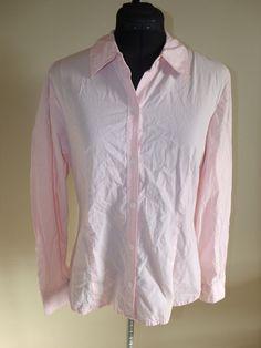 Evan Picone Signature Size 8 Pink Long Sleeve 100% Cotton Button Down Shirt EUC #EvanPicone #Blouse #Casual