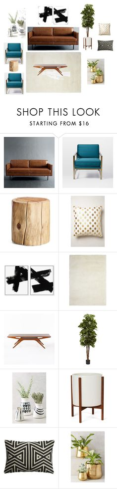"""""""Axel Sofa Living Room - 4"""" by bamcgreg on Polyvore featuring interior, interiors, interior design, home, home decor, interior decorating, West Elm, Anthropologie, Nourison and Nearly Natural"""