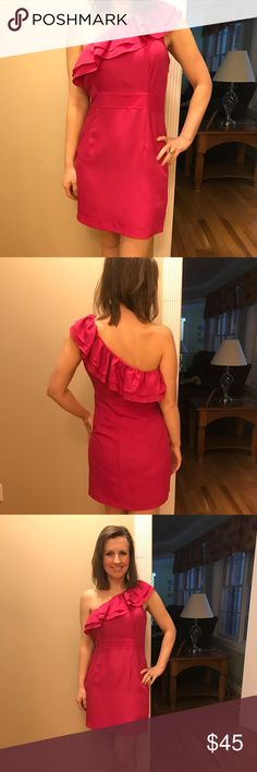 Pink one sleeve ruffled party dress size M Adorable pink one sleeve ruffled party dress size Medium. Brand tag is torn out, so I don't know it. Only worn once! In perfect practically brand new condition!!! It is a little too big around the top for me, or I would keep it myself!!! Dresses