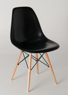 Replica Charles Eames DSW dining chair- black plastic - timber legs with black steel