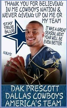 Always Dak And thank you for never giving up. You all deserve kudos for the way you hang in there; playing with heart, even when you're tired, weary & even hurting (injured) thanks you ♡☆ Texas Cowboys, Dallas Cowboys Football, Dallas Texas, Football Players, Dallas Cowboys Pictures, Nfl, Cowboy Images, Cowboy Love, How Bout Them Cowboys