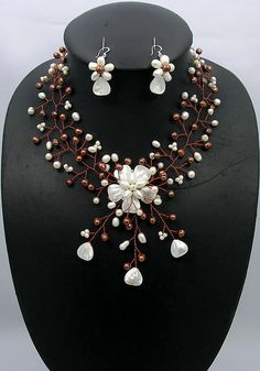 bridesmaid gift, Bead Necklace,Beaded Jewelry,Pearl Necklace With FW Pearl Mother of Pearl Shell/pearl Earrings Set