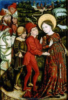 middle 15th century (1455-1460)  Styria, Austria. Sankt Lorenzen ob Murau  altar paintings in the local church - Martyrdom of Saint Margaret