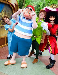 Peter Pan, Wendy, Captain Hook, and Mr. Smee in Disney. Walt Disney Pictures Movies, Walt Disney Characters, Disney Parks, Walt Disney World, Disney And More, Disney Love, Disney Magic, Disney Stuff, Disney Disney