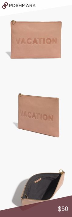 """oversized leather pouch clutch: vacation edition Made of semi vegetable-tanned vachetta leather that burnishes with wear into a beautiful patina. Zip closure. Interior pocket. 8 1/4""""H x 11 7/16""""W. Madewell Bags Clutches & Wristlets"""