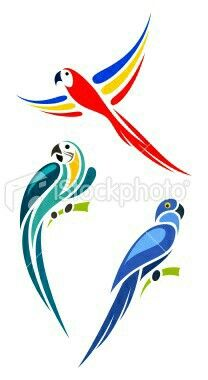 """Stylized parrots - Gold and Blue Macaw, Scarlet Macaw and Hyacinth. """"Stylized parrots - Gold and Blue Macaw, Scarlet Macaw and Hyacinth Macaw"""" Bird Stencil, Stencil Painting, Fabric Painting, Damask Stencil, Faux Painting, Blue Macaw, Stencil Patterns, Silhouette Art, Bird Drawings"""
