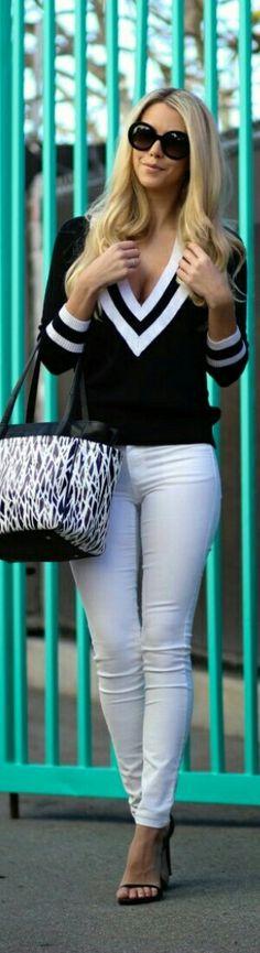 Street style | Chevron V-neck sweater, white skinnies, heels, handbag. women fashion outfit clothing stylish apparel @roressclothes closet ideas