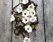 Cream Lilies, Crochet Necklace, Lariat, Beadwork, Crochet Accessories for Women, ReddApple, Gift Ideas for Mothers