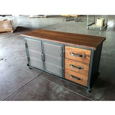 Ellis Console with Drawers   Vintage Industrial Furniture #vintageindustrialfurniture