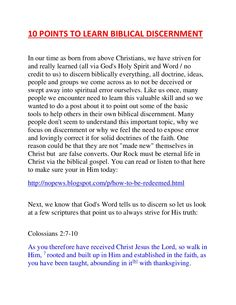 10 Points To Learn Biblical Discernment by spiritntruth via slideshare