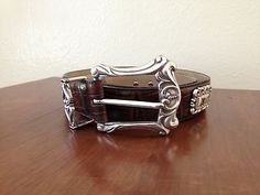 Fossil Embossed Brown Leather Silver Tone Concho Belt Women's Size Med | eBay