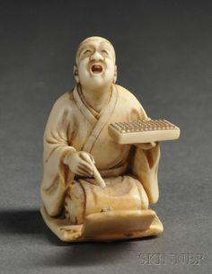 Ivory Netsuke, Japan, 19th century, carved as the kneeling figure of a Merchant holding a calculator while booking, signed, lg. 1 3/8 in. Edo Era, Japanese Characters, Kyoto Japan, Asian Art, Japanese Art, Folk Art, Art Decor, Sculptures, Illustration Art