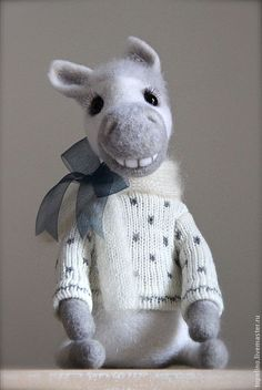 Adorable felted horse with sweater by Oksana Caccioppoli from Naples Italy