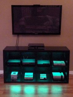 DIY video game cabinet with LED lights.