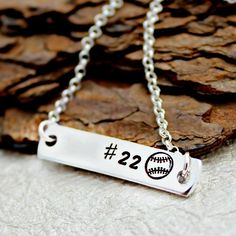 This Baseball Necklace is the perfect necklace for your Baseball or Softball Star. It is also a great necklace to show off your favorite player! Perfect for any Baseball Mom, Girlfriend, Wife, etc. Softball Necklace, Softball Jewelry, Softball Crafts, Softball Quotes, Softball Mom, Softball Players, Bar Necklace, Softball Stuff, Baseball Stuff