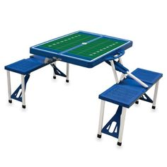 Picnic Time Portable Folding Picnic Table with Football Field Design and Seating for 4 Blue *** Continue to the product at the image link.(This is an Amazon affiliate link and I receive a commission for the sales)