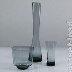 alte WMF Vasen Glas Wilhelm Wagenfeld 3er Konvolut Turmalin 50er Jahre, alt