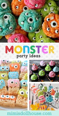 Monster Party: Monster Birthday Party Ideas and Desserts - - Throwing a monster birthday party? We have tons of monster party ideas to share. Monster cakes, monster cupcakes, monster party decorations & more! Spongebob Birthday Party, Little Monster Birthday, Boys First Birthday Party Ideas, Monster 1st Birthdays, Monster Birthday Parties, Baby First Birthday, Birthday Party Decorations, First Birthdays, Party Favors