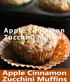 Apple Cinnamon Zucchini Muffins – a muffin with a fruit and a vegetable so you don't have to feel guilty about eating three. Apple Zucchini Muffins, Vegetable Muffins, Zucchini Bread, Zuchinni Desserts, Donut Recipes, Snack Recipes, Dessert Recipes, Autumn Muffin Recipes, Köstliche Desserts