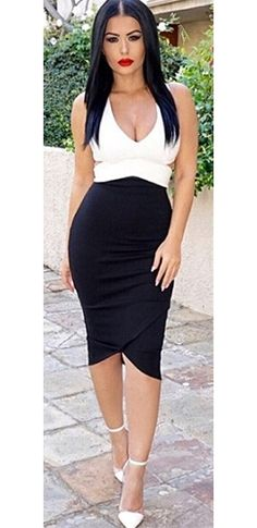 Not So Black and White Sleeveless Deep V Neck Cut Out Tulip Bodycon Bandage Midi Dress