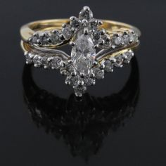 Estate 1.00Ct Marquise Cut Diamond 14K Gold Engagement Ring G-H/ SI-I Certified